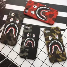 Camo Shark Phone Case For iPhone 7 7Plus 6 6S Plus Coque Slim Painted Hard PC Capa For iPhone X 5 5S Funda Phone Back Case(China)