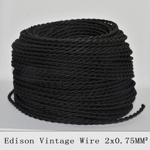 2*0.75mm2 Twisted Textile Wire Fabric Cable Vintage Lamp Cord Retro Braided Electrical Wire chandelier Pendant Lamp Wire 10M