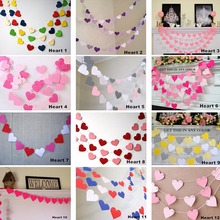 1m Colorful Heart Paper Wedding Party Decoration Garland Handmade Children Room Wall Hangings Props Decoration 12 Colors(China)