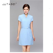 JUYABEI New Summer Hospital Nurse Uniform Doctor Nurse and Lady Short Sleeve Medical Clothing Uniform Beauty Salon Blue Uniform(China)