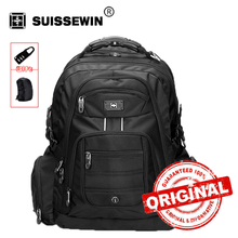 Swisswin 17 inch Men's Laptop Backpack Waterproof Nylon Notebook Computer Bag High Quality 37L Big Travel Backpack Black SW9801