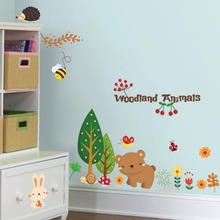 % woodland animal Cherry christmas wall stickers Home decorations bear tree flower removable vinyl wall decals Happy new year