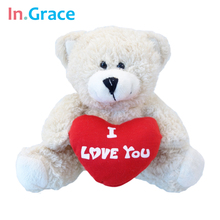 InGrace classical teddy bear toys with red heart i love you plush animal doll high quality handmade soft toy freeshipping teddy