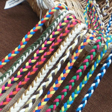 5 strands of weave design and color cotton rope plait rope DIY crafts Garment waist rope hair accessories 8 mm wide