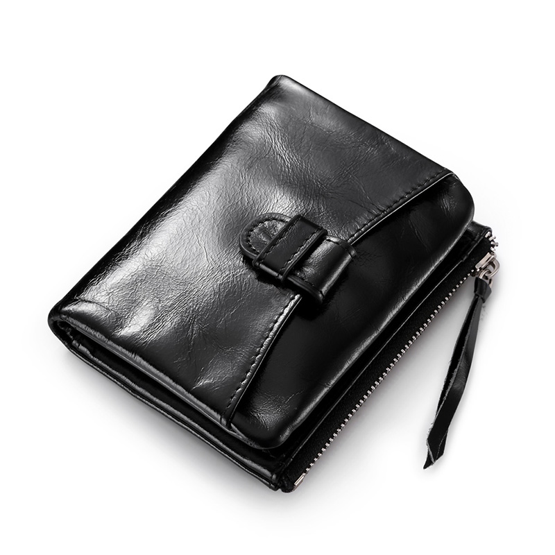 Promotion Women&amp;Mens Oil Wax Leather Bifold Coin Wallet Drivers License Id Wallet Credit Card Receipt Holder Hasp Zipper Purse<br>