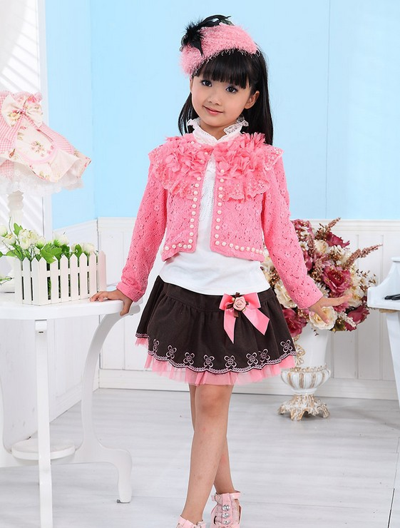 Wholesale-version fleece suit girls net veil long-sleeved 3pcs suits (T-shirt + short skirt, coat) Baby girl lace clothes 4S/L<br><br>Aliexpress