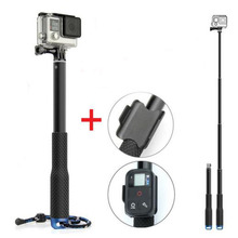 for GoPro Extendable Handheld POV Pole Telescopic Tripod Monopod With Wifi Remote Holder Clip for Go Pro Hero 4 3+ 3 2