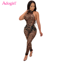 Buy Adogirl Floral Sequins Sheer Mesh Halter Jumpsuit Women Sexy Backless Bandage Jumpsuits Night Club Party Romper Fashion Overalls