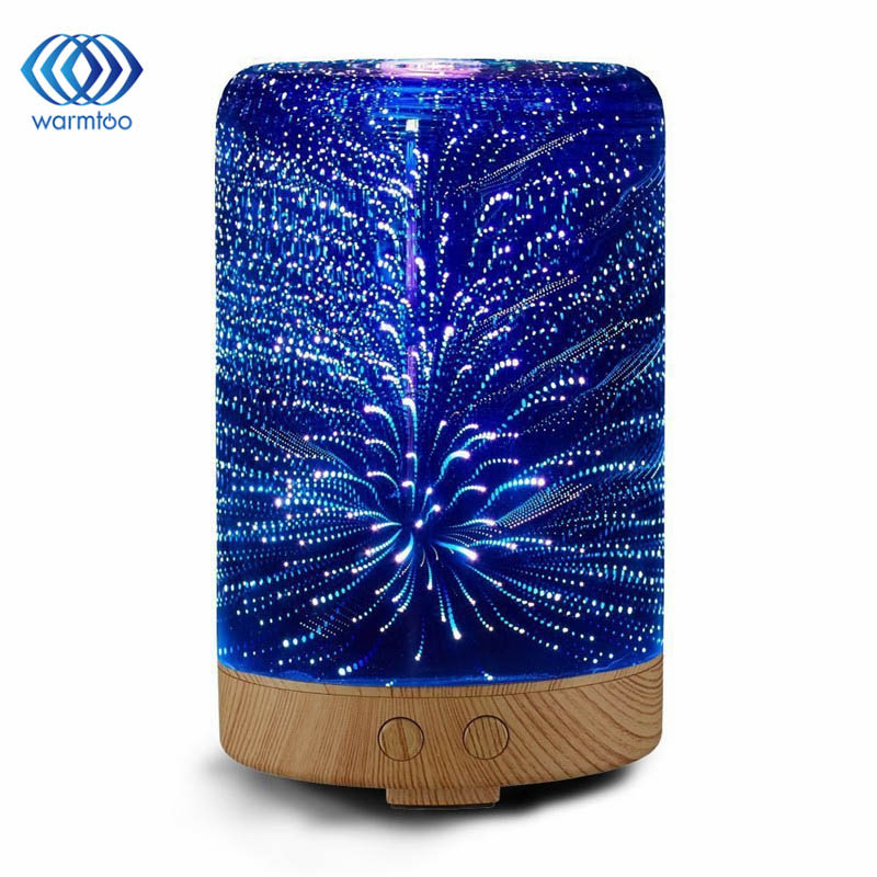 3D LED Lights 100ML Oil Diffuser Ultrasonic Cool Mist Aromatherapy Humidifier 16 Color Changing Starburst Light Lamp Humidifier<br>