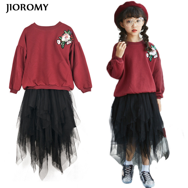 JIOROMY Big Girl Clothes Set 2017 Autumn Sweater Embroidered T-shirt+ Irregular Hem Yarn Skirt Sets for Girls Kids Clothing Suit<br>