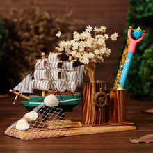 Mediterranean Style Creative Wooden Crafts Creative Sailling Ship Model Pen Container Slap-up Office Desk Ornaments Home Decor