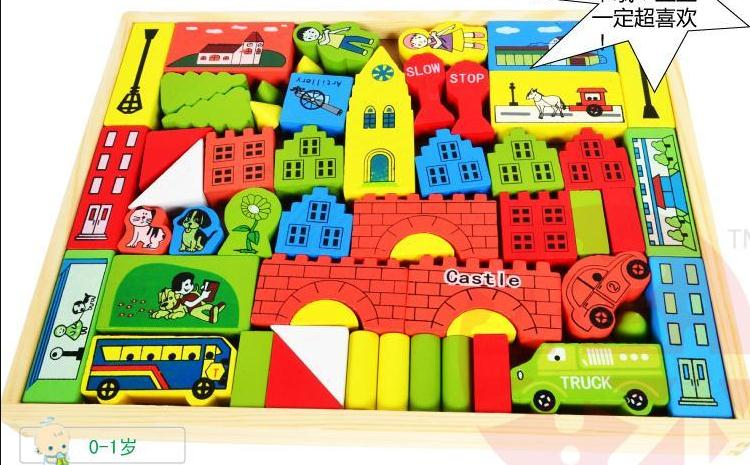 Delivery is free, childrens wooden toys, color printing castle building blocks, boxed traffic blocks, educational toys<br><br>Aliexpress