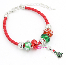 New Arrival Holiday Christmas Bracelet Jewelry Red PU Leather Rope with Xmas Bead Tree Charm Bracelet for Christmas Gift Jewelry