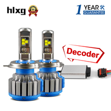 hlxg 2 pcs Car Styling Led Lamps Kit Driver Decoder 35W 7000LM 12V H4 H7 H8 H11 6000K Canbus Car Headlight Error Free Canceller