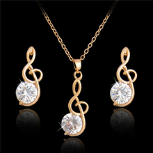 H:HYDE Wedding/Bride noble jewelry Gold Color Women's/Girl's White CZ Chain Necklace + Earrings Wedding Jewelry Sets Gifts