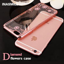 Rhinestones Cases For iPhone 5 cases Soft TPU rose gold Case for iPhone 7 Case plus Flower Fundas Cove for Apple iPhone 6s plus