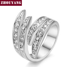 Angel's Wing Silver Color Ring Health Jewelry Nickel Free Austrian Crystal For Women and Men Party Top Quality ZYR114