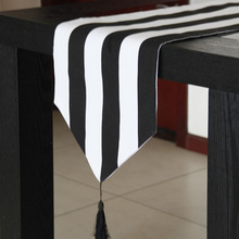 Latest Table Runner Black White Strip Table Runners Modern Home Hotel Bedroom Dustproof Cloth Wedding Decoration(China)