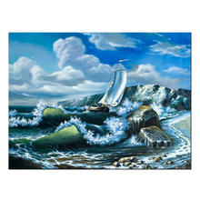 Contemporary Wall Art Blue Sky and White Clouds Sea Sailing Oil Painting HD Prints On Canvas Wall Decorations Seascape Artwork