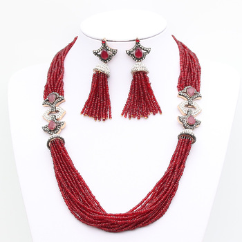 Exquisite African Beads Jewelry Set Nigeria Wine Beads Bridal Jewelry Sets Resin Bead Earring Rhinestone Necklace Antique Bijoux