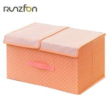 Clothes Storage Box With Double Cover Washable Oxford Cloth+PP Board Underwear Bra Underwear Socks Box Clothing Organizer