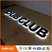 painted Stainless steel Backlit signage letters LED 3D illuminated Channel letters signs for club(China)