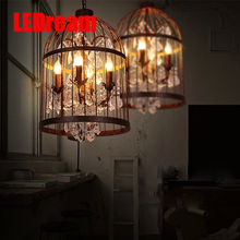 LEDream balack/rust 4/8/12 vintage pendent lamp, wrought iron stairs villa cafe cage crystal light sitting room bar restaurant