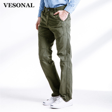 VESONAL 2017 Spring Autumn Casual Men's Work Pantalon Trousers Solid Color Top Quality 100% Cotton Cargo Pants Men Army 3362