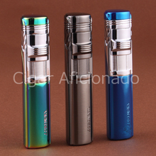 LUBINSKI Reusable Pocket Size Windproof Turbo Lighter Pipe Style High Quality Metal 3 Torch Jet Flame Cigar Cigarette Lighter(China)