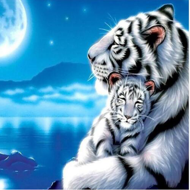 fashion White Tiger Diamond Painting 3D DIY White tiger Baby Picture By Numbers On Canvas christmas decorations for home