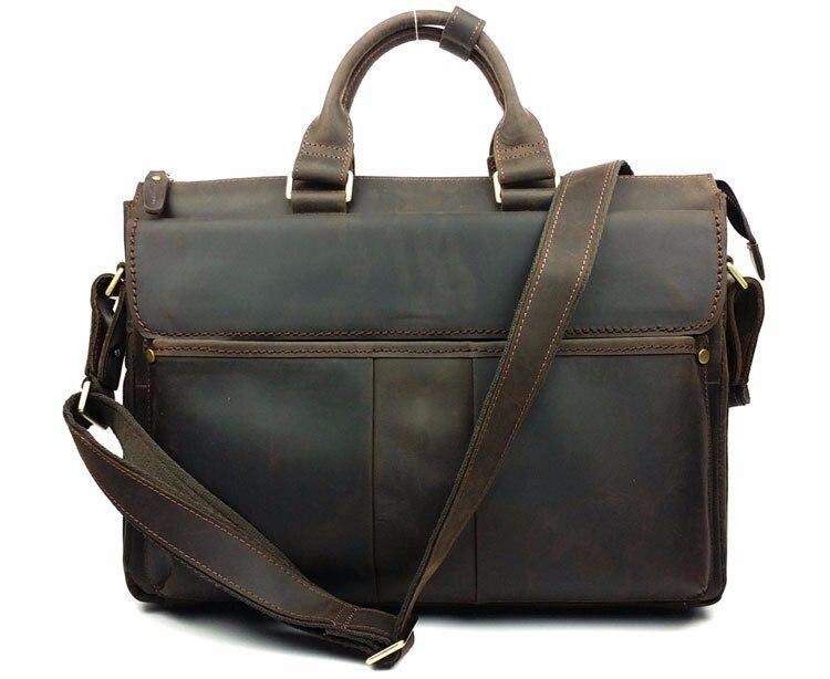 New Retro Crazy Horse Genuine Leather Men's Briefcase Handbag Shoulder Business Zipper Messenger Handle Laptop Zipper Bags