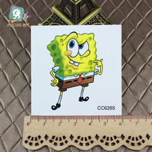 60x60mm Latest 2016 Cartoon SpongeBob tattoo designs Waterproof  tattoo Sticker temporary tattoo Art sticker Kids Tattoo