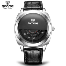 2016 Hot!Casual SKONE Genuine Men & Women Brand Wristwatches Special design Military Leather Sports Watch Relogio Masculino(China)