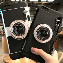 UVR Cool 3D Vintage Camera Phone Case For Iphone 6 6s 6s Plus 7 7 Plus soft silicone Long Strap Rope back covers with Strap