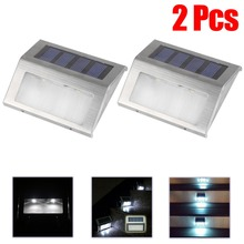 2 sets Solar Power LED Light Pathway Path Step Stair Wall Garden Lamp Outdoor Waterproof Solar Light Cool White