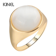 Kinel Luxury Round Opal Ring For Women Fashion Gold Color Punk Jewelry Simple Big Wedding Ring Christmas Gift