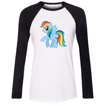 Women Long Sleeve T-shirt My Little Pony Pinkie Pie Twilight Sparkle Apple Jack Rainbow Dash Rarity Fluttershy Girl T shirt Tops(China)