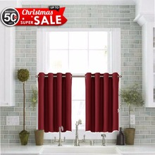 Thermal Insulated Blackout Half Window / Tier / Valance Grommet Curtain For Kitchen(China)