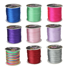 Wholesale 70M/Spool 1MM Mix Color Nylon Black Satin Chinese Knotting Silky Macrame Cord Beading Braided String Thread