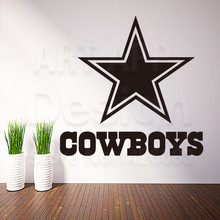 Art new design cheap home decor Dallas cowboys rugby logo wall sticker removable house decoration USA football decals in rooms