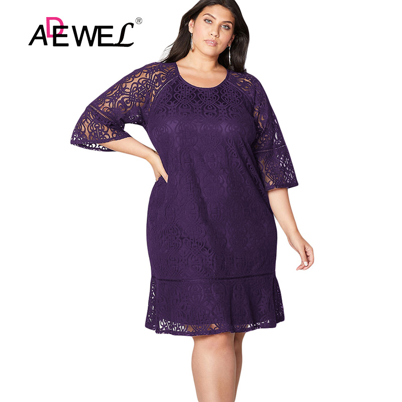ADEWEL Black/Navy/Purple Plus Size Crochet Lace Overlay Party Midi ...