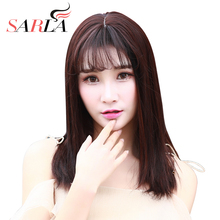 SARLA 16'' Synthetic Straight Medium Wig Toupee For Women Resist High Temperature Fiber Hairpieces For Bald Hair Bangs C8(China)