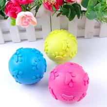 New Arrival Rubber Teeth Bite Dog Pet Paw Play Ball Toy Blue Rose Yellow(China)