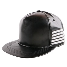 wholesale  new popular men women PU leather luxury baseball cap white striped embroidery black hip hop snapback hat gorras