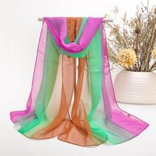 Chiffon Neck Scarf shawl cape Women's summer Scarves Wrap Rainbow Colorful Gradient Free shipping 2015