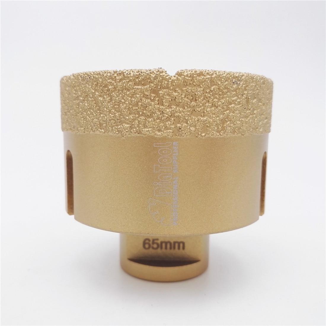 DIATOOL Diameter 65mm Vacuum Brazed Diamond Drilling Bits With15MM Diamond Height M14 Thread Drill bits Hole Saw<br>
