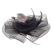 New  Black Flower Feather Organza Mesh Hair Clip Fascinator Wedding