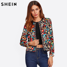 SHEIN Press Button Placket Botanical Jacket Autumn Jacket for Women Multicolor Collarless Single Breasted Elegant Jacket(China)