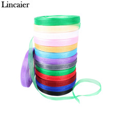 Lincaier 10mm 50 yards Organza Ribbon Wedding Decoration Birthday Gift Wrapping DIY Craft Table Favor Party Event Supplies(China)