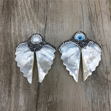 White Angel Wing Shell Charm Pendant Paved Rhinestones and Pearl or Evil eye For Necklace Jewelry Making  MY1349
